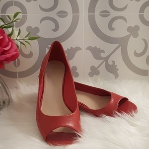 Coral Cole Haan Peep Toe Wedge Shoes